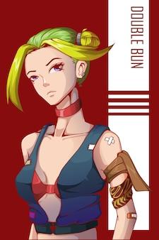 Illustration de personnage de fille double chignon