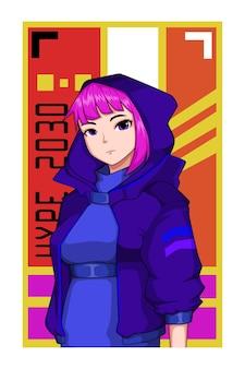 Illustration de personnage de fille de style hype