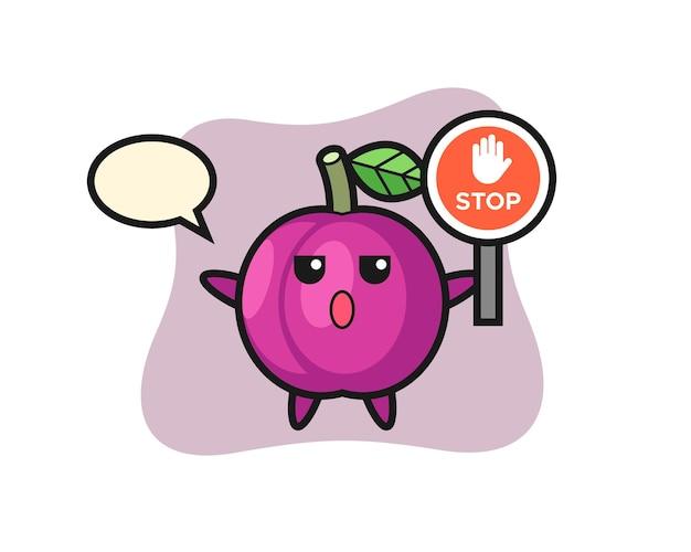 Illustration de personnage de fruit de prune tenant un panneau d'arrêt, design de style mignon pour t-shirt, autocollant, élément de logo