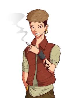 Illustration de personnage de garçon de rue fumeur