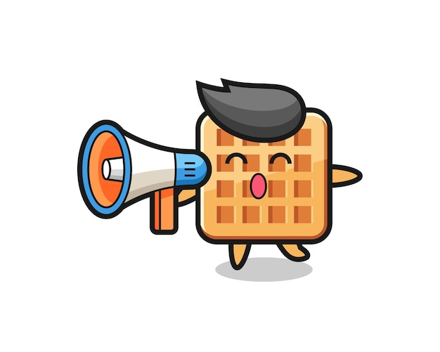 Illustration de personnage de gaufre tenant un mégaphone, design mignon