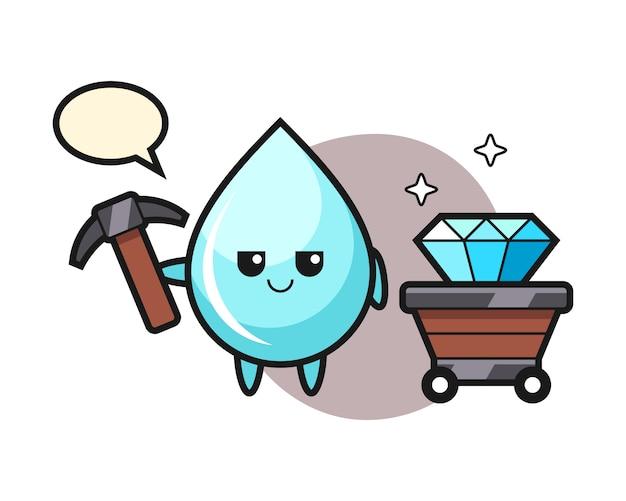 Illustration de personnage de goutte d'eau en tant que mineur, conception de style mignon pour t-shirt