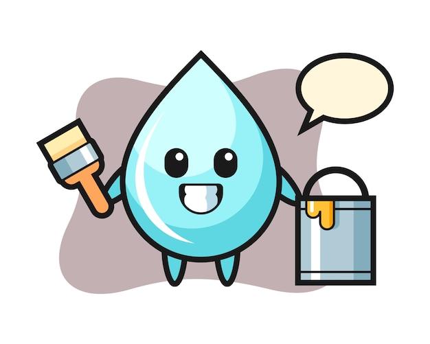 Illustration de personnage de goutte d'eau en tant que peintre, conception de style mignon pour t-shirt