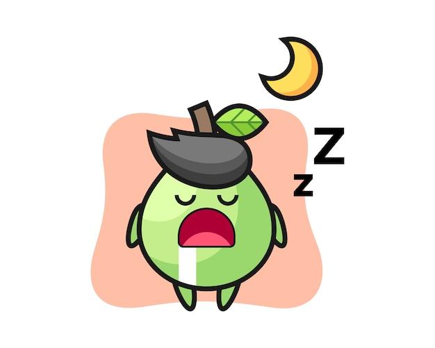 Illustration de personnage de goyave dormant la nuit, style mignon pour t-shirt, autocollant, élément de logo