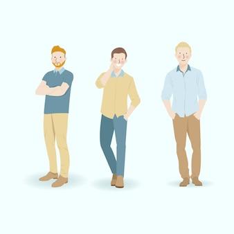 Illustration de personnage d'hommes en position debout portant des vêtements décontractés avec le thème de couleur jaune sarcelle