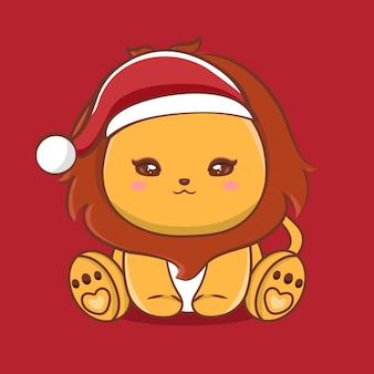 Illustration de personnage de lion mignon avec joyeux noël salutations vecteur premium