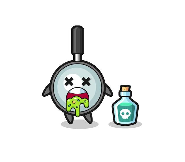 Illustration d'un personnage de loupe vomissant à cause d'un empoisonnement, design de style mignon pour t-shirt, autocollant, élément de logo