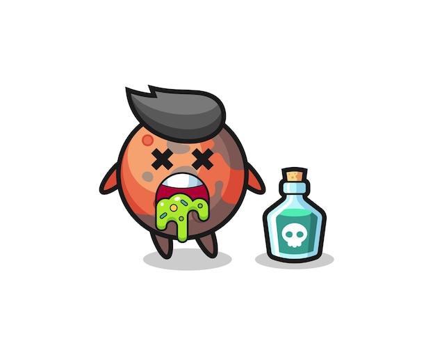 Illustration d'un personnage de mars vomissant à cause d'un empoisonnement, design de style mignon pour t-shirt, autocollant, élément de logo