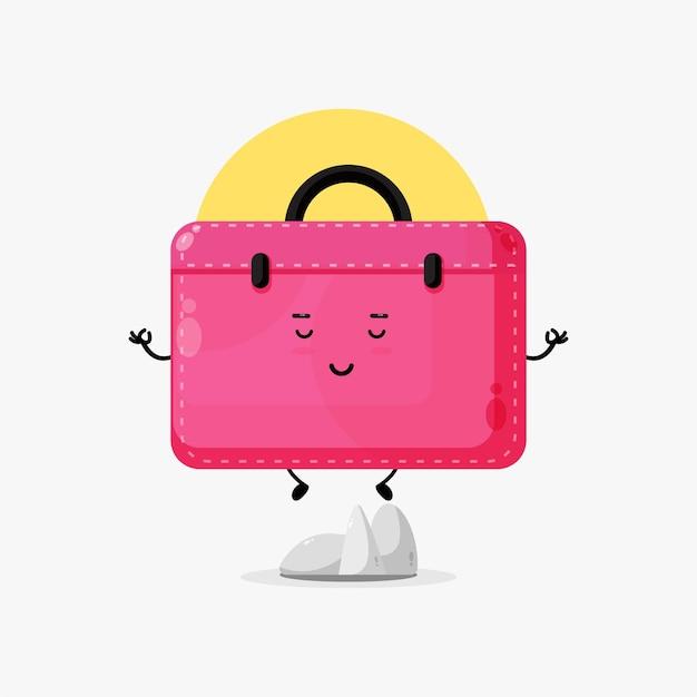 Illustration d'un personnage mignon de porte-documents méditant