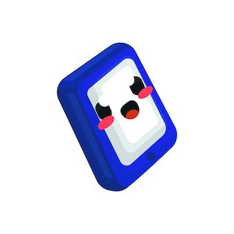 Illustration de personnage mignon téléphone kawaii