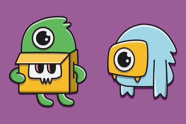 Illustration de personnage de monstre kawaii doodle