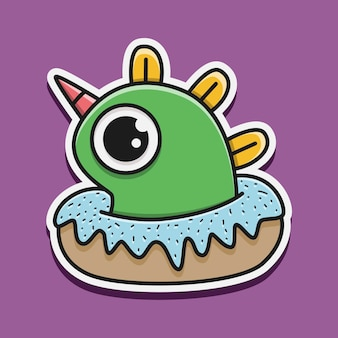 Illustration de personnage de monstre kawaii doodle