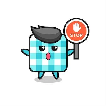 Illustration de personnage de nappe à carreaux tenant un panneau d'arrêt, design de style mignon pour t-shirt, autocollant, élément de logo