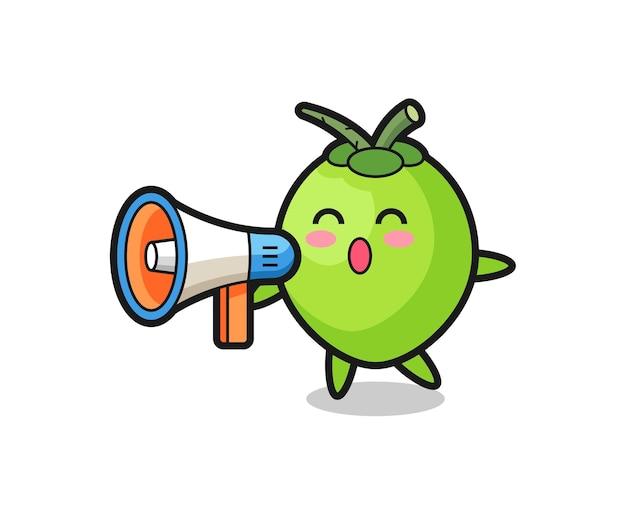 Illustration de personnage de noix de coco tenant un mégaphone, design de style mignon pour t-shirt, autocollant, élément de logo