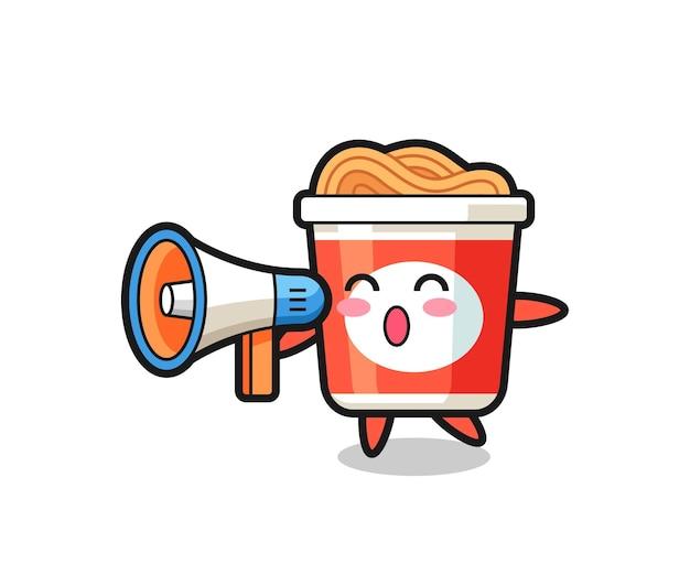 Illustration de personnage de nouilles instantanées tenant un mégaphone, design de style mignon pour t-shirt, autocollant, élément de logo