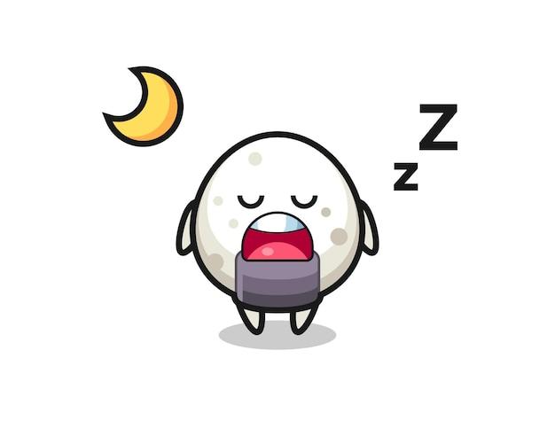 Illustration de personnage onigiri dormant la nuit, design de style mignon pour t-shirt, autocollant, élément de logo