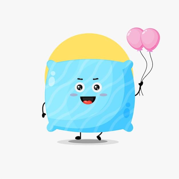 Illustration d'un personnage d'oreiller mignon portant un ballon