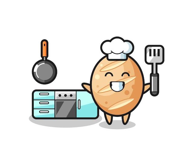 Illustration de personnage de pain français en tant que chef cuisinier, design mignon