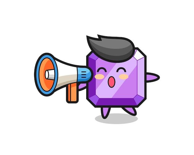 Illustration de personnage de pierre précieuse violette tenant un mégaphone, design de style mignon pour t-shirt, autocollant, élément de logo