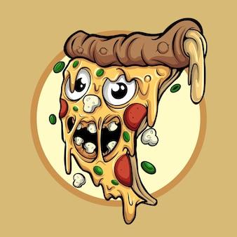 Illustration de personnage de pizza mignonne et toujours heureux