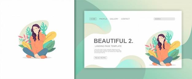 Illustration de personnage plat femme et feuilles design landing page