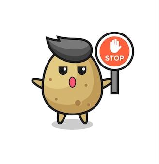 Illustration de personnage de pomme de terre tenant un panneau d'arrêt, design de style mignon pour t-shirt, autocollant, élément de logo