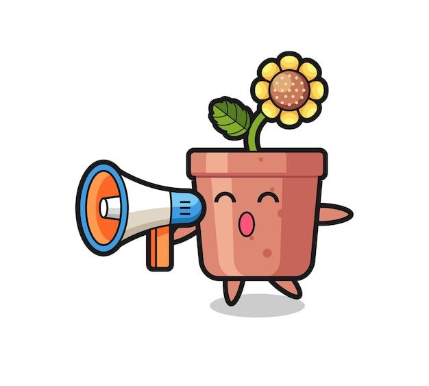 Illustration de personnage de pot de tournesol tenant un mégaphone, design de style mignon pour t-shirt, autocollant, élément de logo