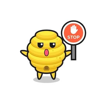 Illustration de personnage de ruche d'abeilles tenant un panneau d'arrêt, design mignon