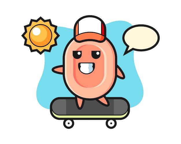 Illustration de personnage de savon monter une planche à roulettes, style mignon pour t-shirt, autocollant, élément de logo