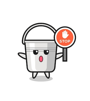 Illustration de personnage de seau en métal tenant un panneau d'arrêt, design de style mignon pour t-shirt, autocollant, élément de logo