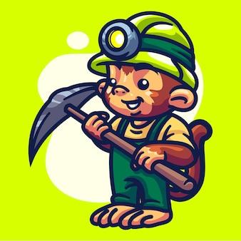 Illustration de personnage de singe crypto miner
