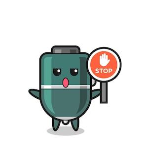 Illustration de personnage de stylo à bille tenant un panneau d'arrêt, design mignon