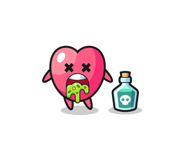 Illustration d'un personnage de symbole cardiaque vomissant à cause d'un empoisonnement, design de style mignon pour t-shirt, autocollant, élément de logo