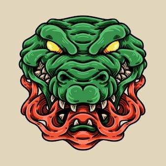 Illustration de personnage de tête de crocodile fou