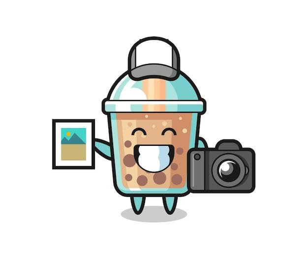 Illustration de personnage de thé à bulles en tant que photographe, design de style mignon pour t-shirt, autocollant, élément de logo