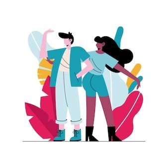 Illustration de personnages avatars heureux jeune couple interracial