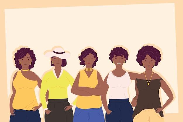 Illustration de personnages avatars jeunes filles afro