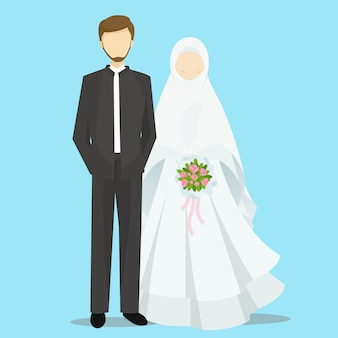 Illustration de personnages de bande dessinée musulmane mariée et le marié