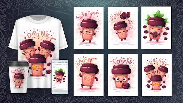 Illustration de personnages de dessin animé mignon et merchandising
