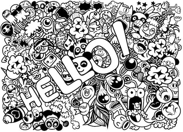 Illustration de personnages doodle dessinés à la main avec le mot