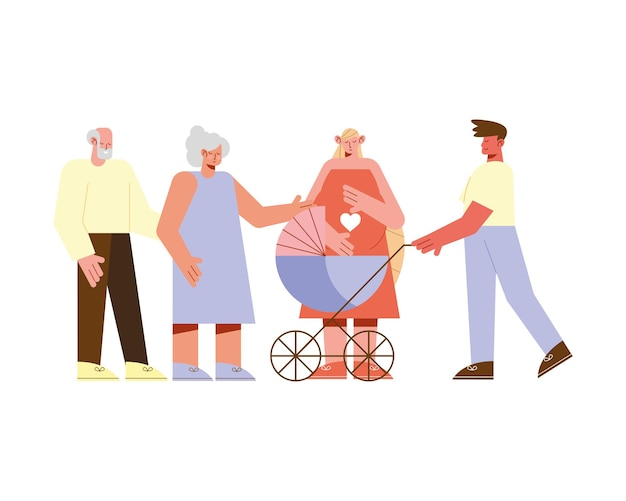 Illustration de personnages enceintes de couples