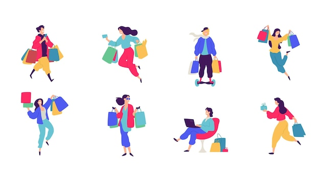 Illustration de personnages de joyeux acheteurs