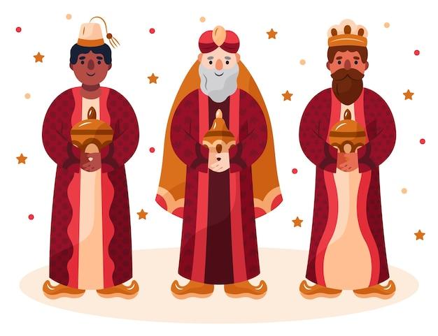 Illustration de personnages magos reyes dessinés à la main
