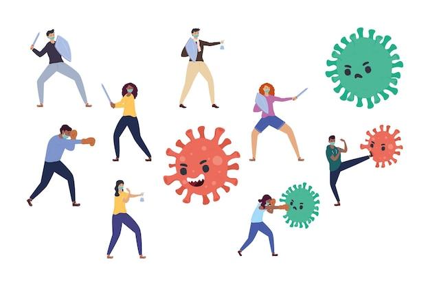 Illustration de personnages de personnes qui se battent contre des particules