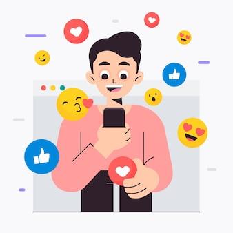 Illustration avec une personne accro aux médias sociaux