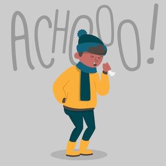 Illustration avec une personne avec un design froid