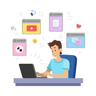 Illustration d'une personne multitâche
