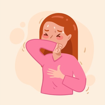 Illustration avec une personne qui tousse