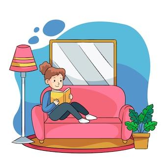 Illustration d'une personne se détendre à la maison