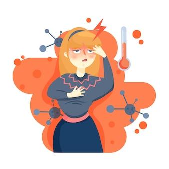 Illustration avec une personne avec un thème froid